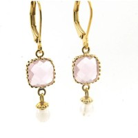 LILLY LILLY Oorbellen - Square Crystal Gold | Pink | 14 Karaats