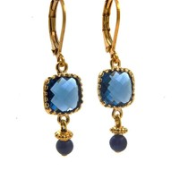 LILLY LILLY Oorbellen - Square Crystal Gold | Blue |14  Karaats