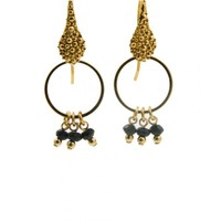 LILLY LILLY Oorbellen - Pointhook Bunch M Gold | Black Onyx | 14 Karaats