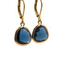LILLY LILLY Oorbellen - Drop Crystal Gold | Blue | 14 Karaats