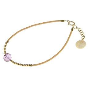 BLINCKSTAR BLINCKSTAR Armband - Goldfilled | Amethist | Beige