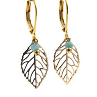 LILLY LILLY Oorbellen - Little Leaf Gold | Amazonite | 14 Karaats