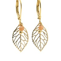 LILLY LILLY Oorbellen - Little Leaf Gold | Moonstone | 14 Karaats