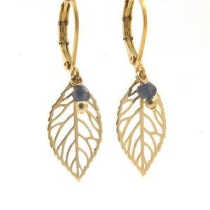 LILLY LILLY Oorbellen - Little Leaf Gold   Sapphire   14 Karaats