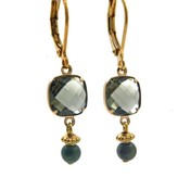 LILLY LILLY Oorbellen - Square Crystal Gold | Green  | G51