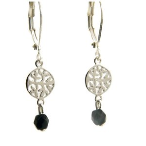 LILLY LILLY Oorbellen - Tree of Life Silver | Onyx | Zilver
