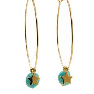 LILLY LILLY Oorbellen - Precious Star L Gold   Amazonite Aqua   14 Karaats