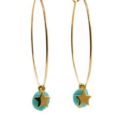 LILLY LILLY Oorbellen - Precious Star L Gold | Amazonite Aqua | G57