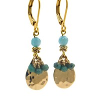 LILLY LILLY Oorbellen - Bunchy Drop Gold | Amazonite | 14 Karaats