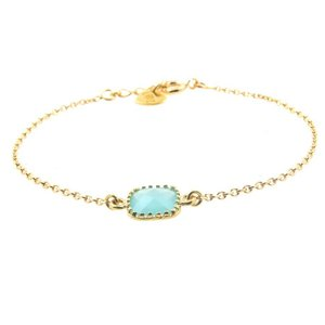 LILLY LILLY Armband | Square Crystal Gold | 14 Karaats | Turquoise