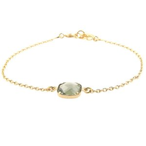 LILLY LILLY Armband   Square Crystal Gold   14 Karaats   Green