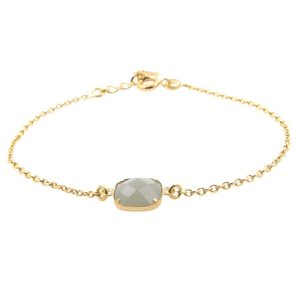 LILLY LILLY Armband | Square Crystal Gold | 14 Karaats | Mat Grey