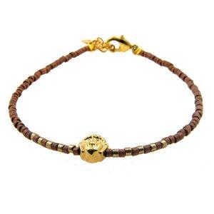 LILLY LILLY Armband   Miyuki Buddha Gold   Brown   14 Karaats