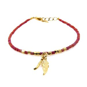 LILLY LILLY Armband | Beads Feathers | Red | 14 Karaats