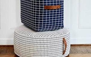 Scandinavisch design poefs rond, vierkant, cylinder