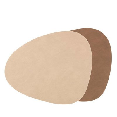 Lind DNA  Leren Placemat Curve Large double brown - sand