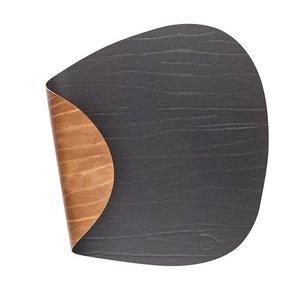 Lind DNA  Placemat Curve double leer zwart bruin