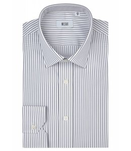 The Ritz Super Fine Two Fold Cotton Shirt in Light Grey Stripe