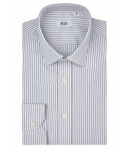 The Ritz Superfine Two Fold Cotton Shirt in Light Grey Stripe