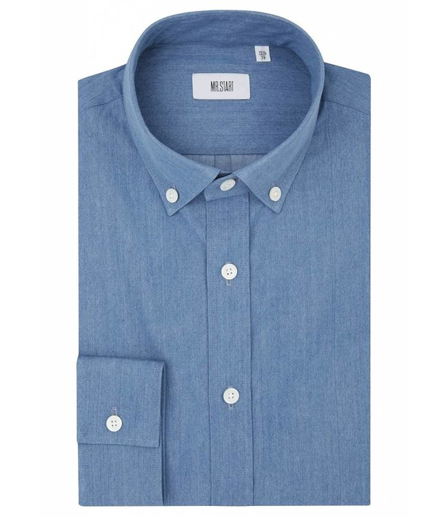 The Curtain Superior Cotton Button Down in Denim Chambray