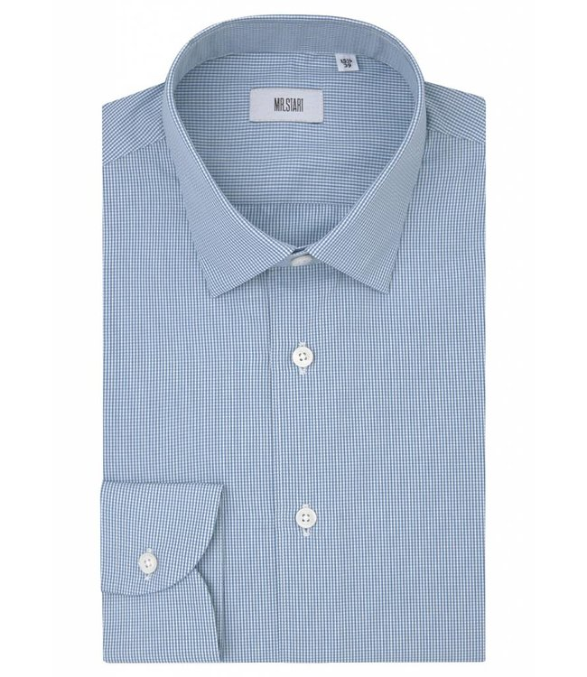 The Drake  Superior Two Fold Cotton Shirt in Aqua Gingham