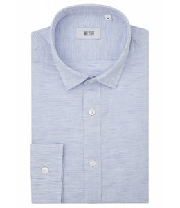 The Truman Super Fine Linen Shirt in Blue & White Weave