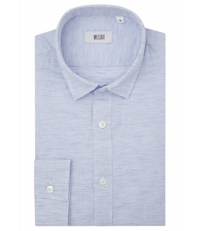 The Truman Shirt in White & Blue Weave