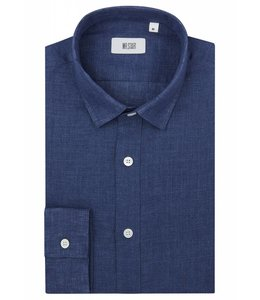 The Truman Super Fine Double Fold Linen Shirt in  Blue