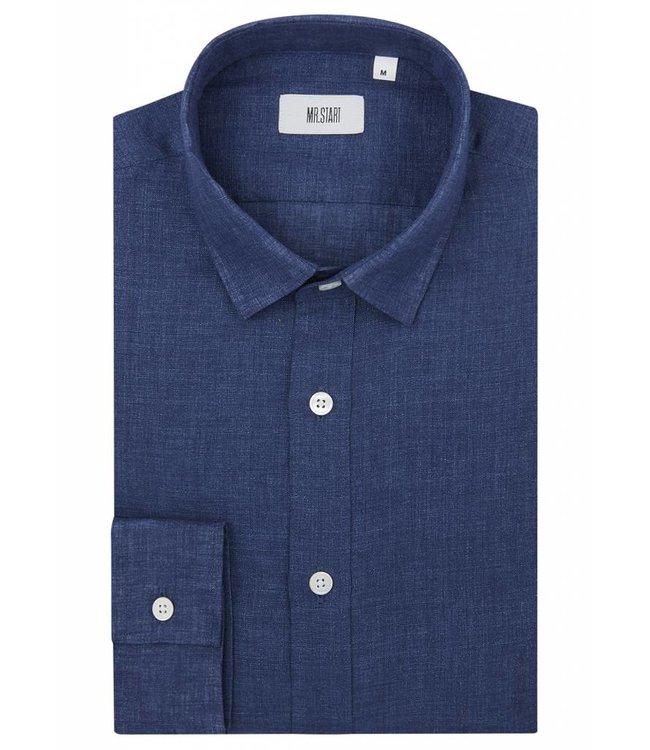 The Truman Shirt in Dark Blue Linen