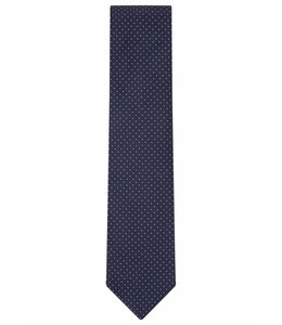 Fine Gauge Silk Tie in Classic Navy Pin Dot Weave