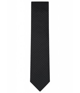 Fine Gauge Silk Tie in Classic Black Pin Dot Weave