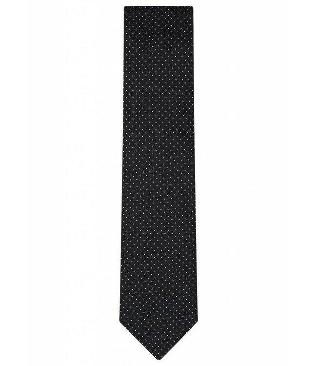 Fine Gauge Silk Tie in Classic Black Pin Dot Weave