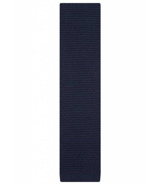 Fine Gauge Knitted Silk Tie in Navy