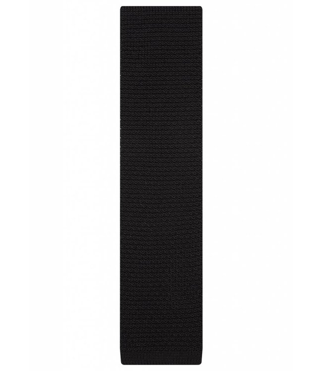 Fine Gauge Knitted Silk Tie in Classic Black