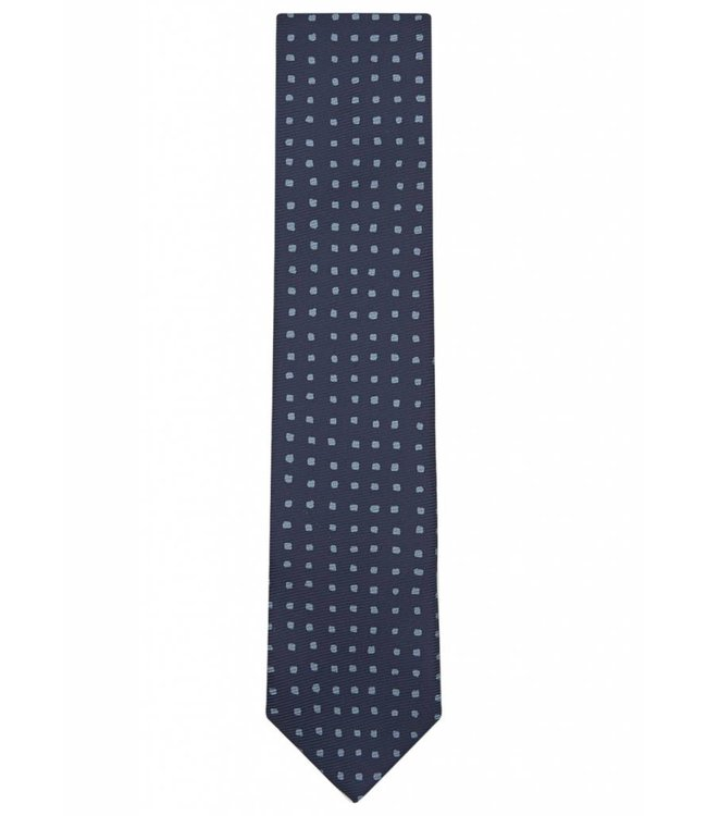 Fine Gauge Silk Tie in Navy & Blue Square Dot Weave