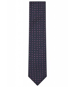 Fine Gauge Silk Tie in Navy & Pink Square Dot Weave