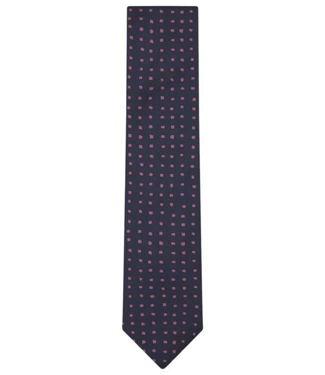 Fine Gauge Silk Tie in Navy & Pink Square Dot Weave