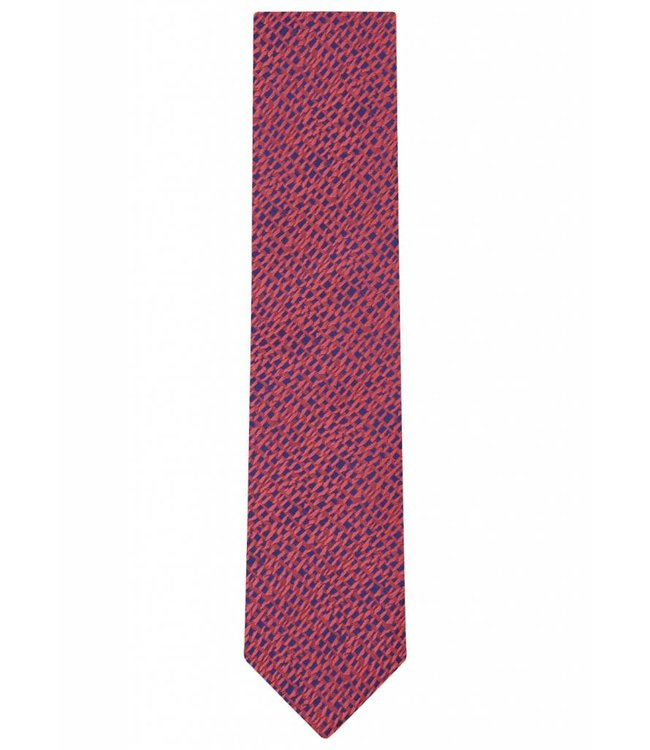 Silk Tie in Red Iridescent Abstract Weave