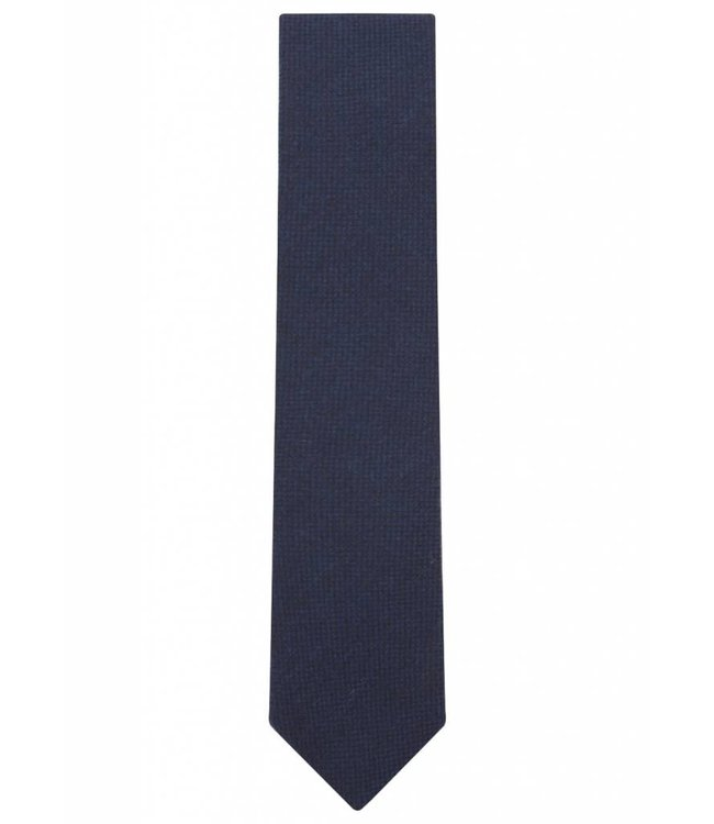 Wool Tie in Navy Micro Check