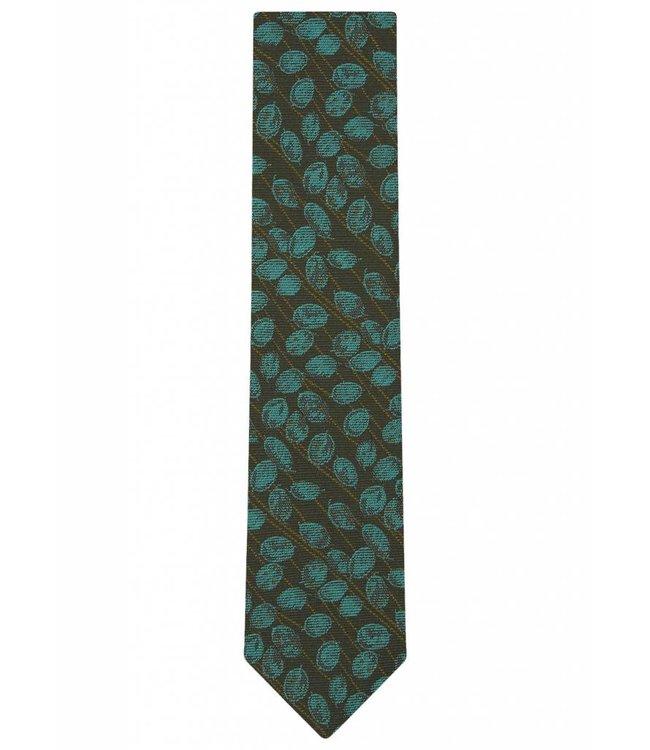 Silk Tie in Green Leaf Weave