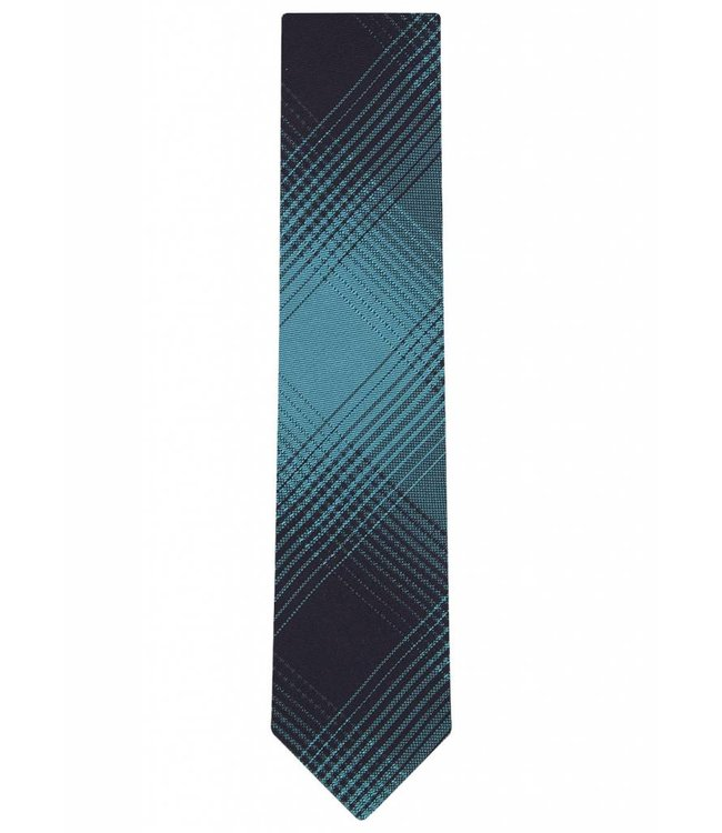 Silk Tie in Turquoise Check Print