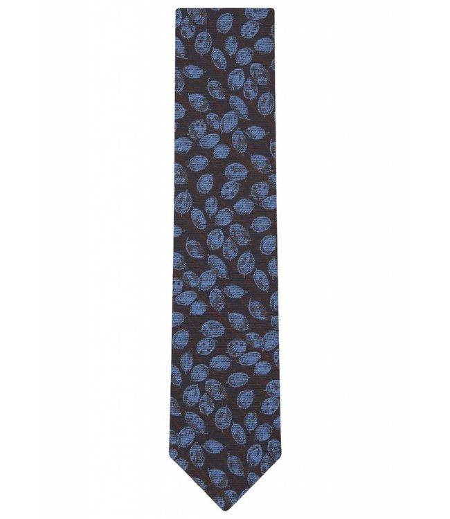 Silk Tie in Blue Leaf Weave