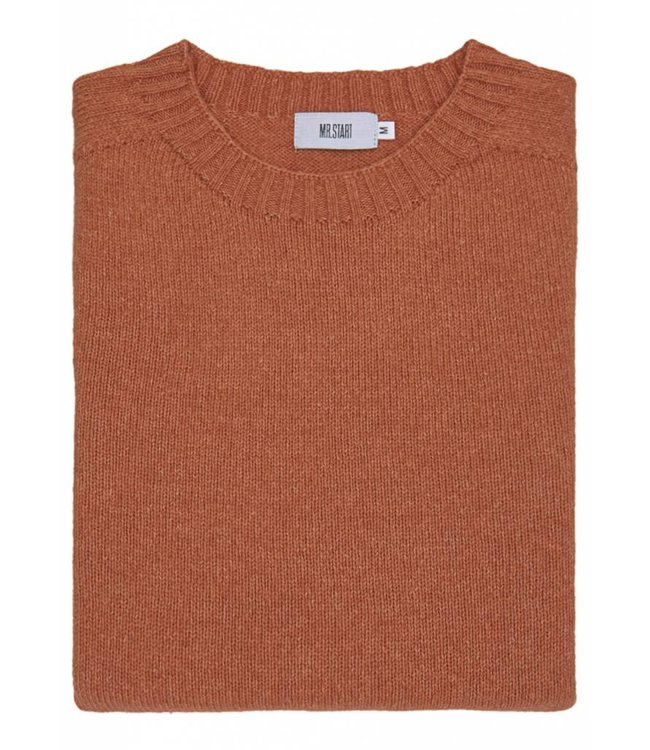 The Ruthven Cotton & Wool Crew Neck in Amber Orange