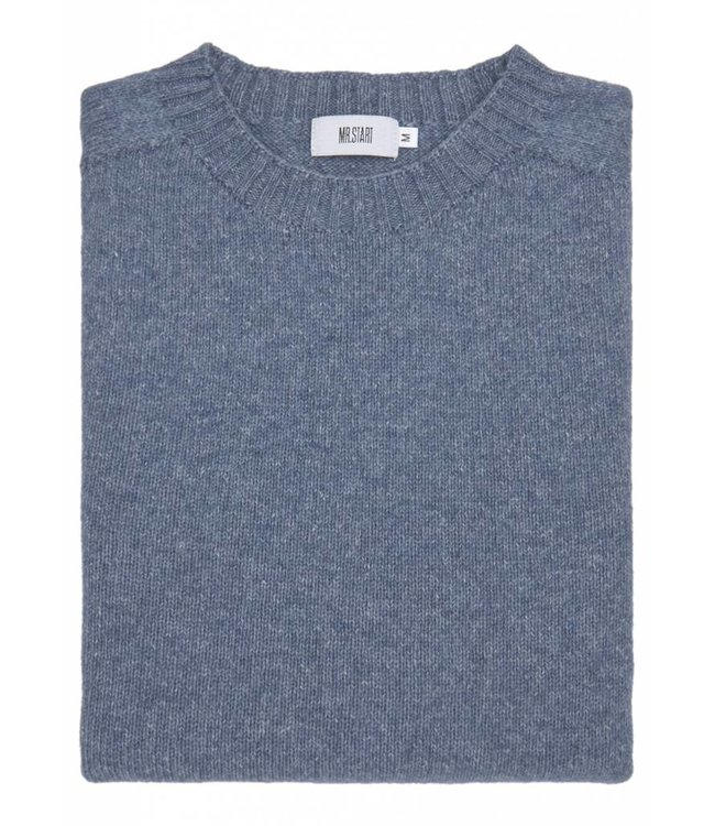 The Ruthven Cotton & Wool Crew Neck in Sapphire Blue