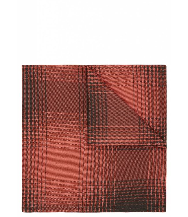 Check Print Silk Pocket Square in Orange