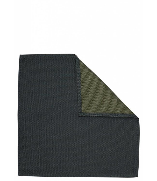 Piquet Textured Silk Pocket Square in Green