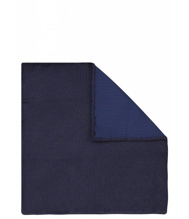 Piquet Textured Silk Pocket Square in Navy