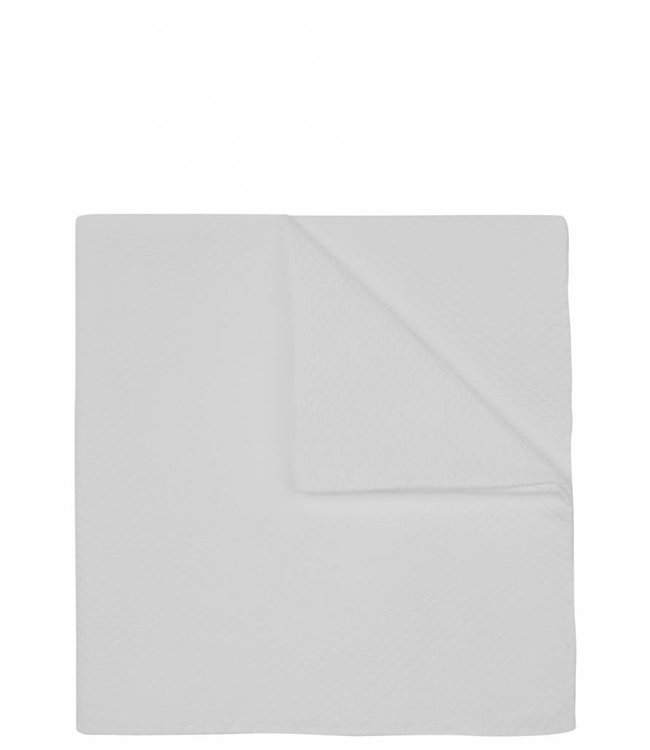 Textured Pocket Square in White Cotton