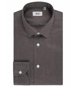 The Drake Super Fine Two Fold Brushed Cotton Shirt in Brown Dogtooth