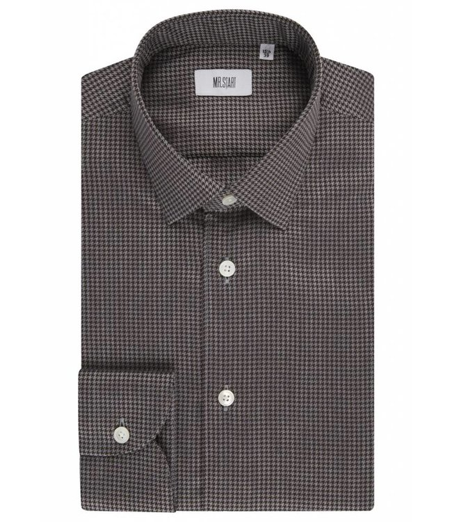 The Drake Shirt in Brown Dogtooth
